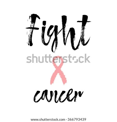 Fight Cancer Inspirational Quote About Breast Stock Vector