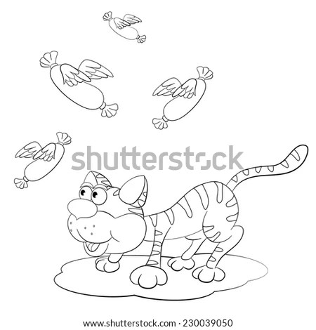 Cartoon Cat Stalking Sausage Wings Coloring Stock Vector