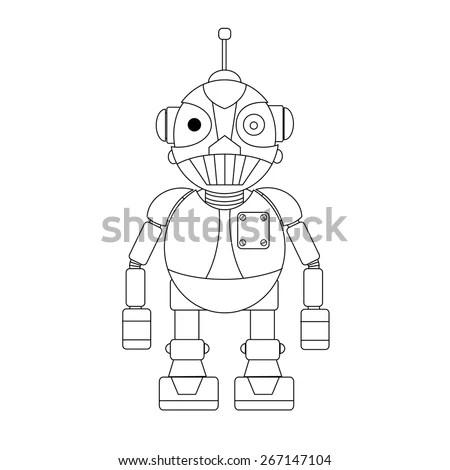 Flying Metallic Ally Grey Robot Warrior Stock Vector