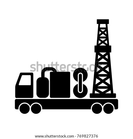 Black Flat Vector Mobile Drilling Rig Stock Vector