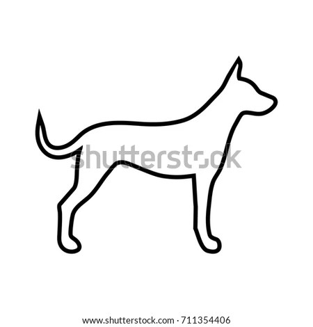 Simple Line Vector Dog Icon On Stock Vector 711354406