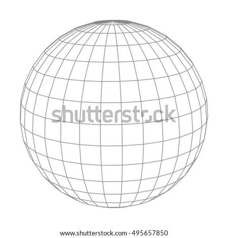 Globe Grid Sphere Pattern Globe Angering Stock Vector
