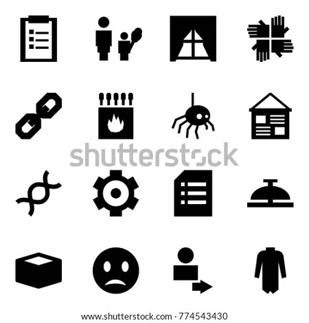 Vector Set 16 Thin Icons Related Stock Vector 410213026
