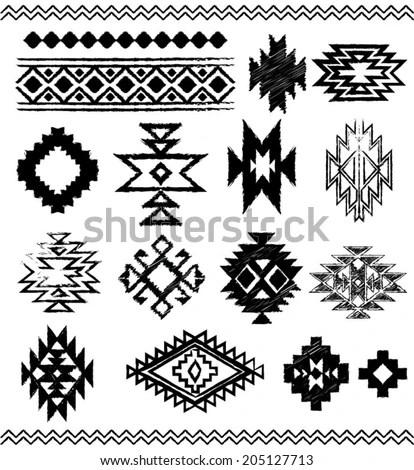 Hand Drawn Look Aztec Navajo Indian Stock Vector 205127713