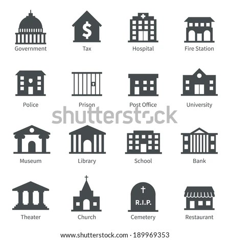 Government Building Icons Set Police Museum Stock Vector