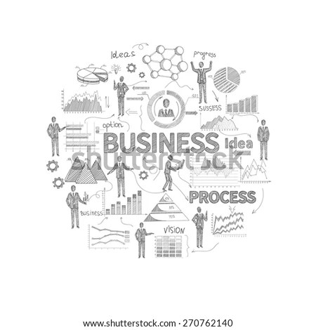 Business Process Concept Sketch Personnel Finance Stock