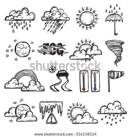 Funny Doodle Weather Forecast Objects Collection Stock