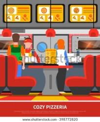 restaurant fast interior cartoon inside vector customer diner shutterstock