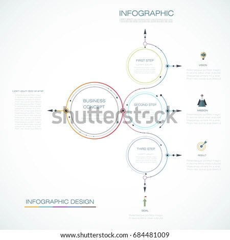 Infographic Template Circle Design Arrows Sign Stock