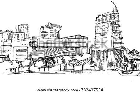 Scene Street Illustration Hand Drawn Ink Stock Vector