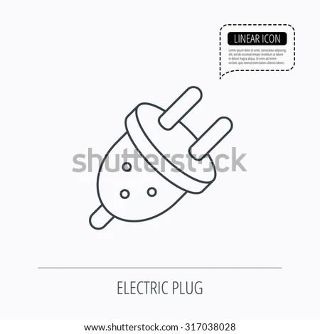 Electric Plug Icon European Socket Sign Stock Illustration