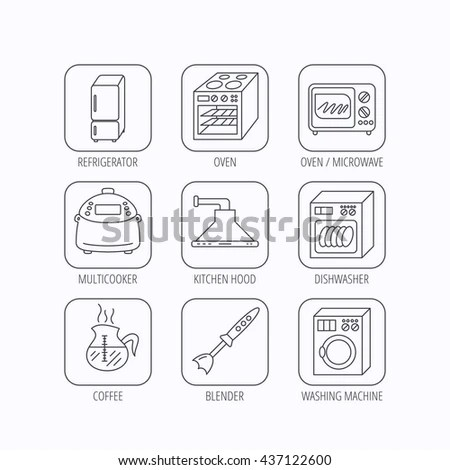 Microwave Oven Washing Machine Blender Icons Stock Vector