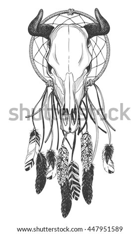 Bull Skull Feathers Dreamcatcher Native American Stock