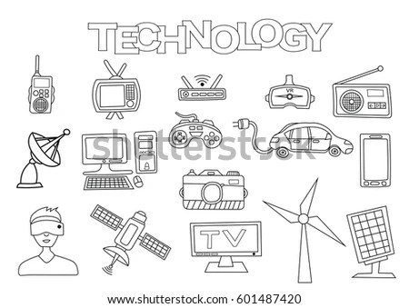 Technology Elements Hand Drawn Set Coloring Stock Vector