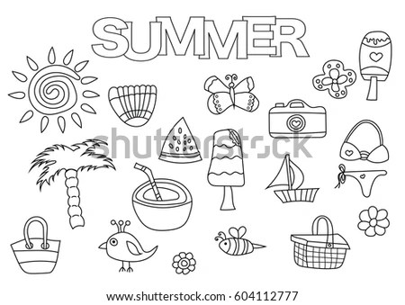 Summer Doodles Page Scrapbook Stock Images, Royalty-Free