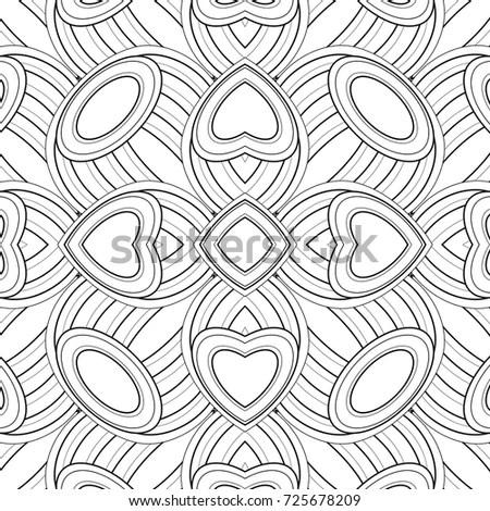 Monochrome Seamless Pattern Ethnic Motifs Endless Stock