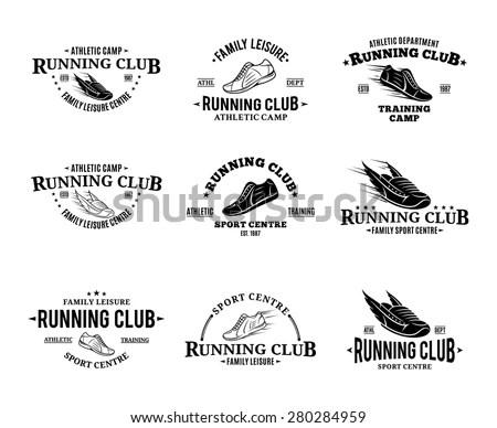 Running Club Logo Labels Templates Badges Stock Vector
