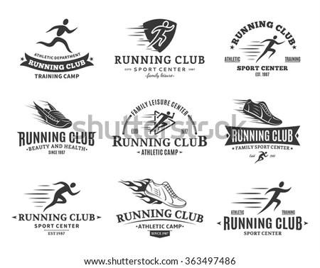 Set Running Club Logo Templates Running Stock Vector