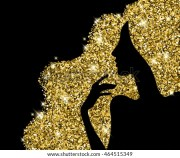 golden hair beautiful girl silhouette