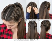 Simple Braided Hairstyle Tutorial Step By Stock Photo ...