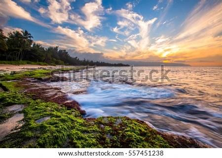 Beautiful North Shore Oahu Sunset Stock Photo 585472682