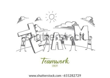 Stick Figure Teamwork Concept Sketch People Stock Vector