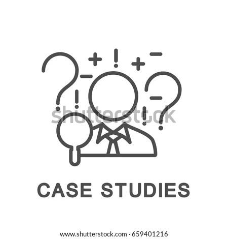 Icon Case Studies Businessman Uses Case Stock Vector