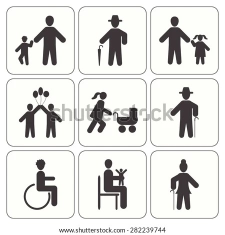 Disabled Nursing Disabled Healthcare Icons Caring Stock