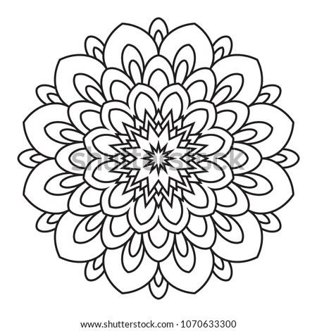 Easy Simple Basic Mandala Background Coloring Stock
