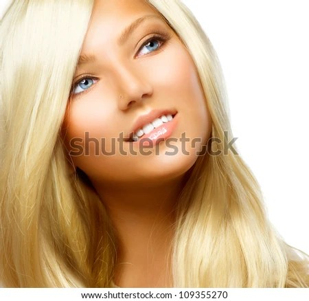 woman face with long curly hair on white background isolated close up long hairstyles