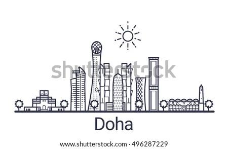 Linear Banner Doha City All Doha Stock Vector 496287229