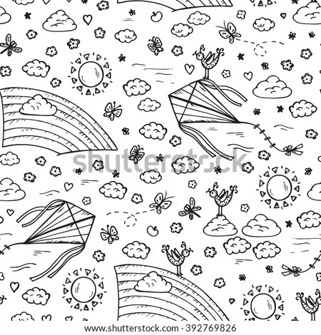 Summer Background Sky Seamless Pattern Hand Stock Vector