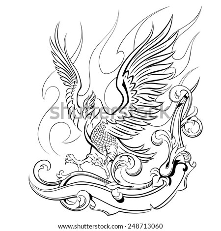 phoenix on a background of flames and oranmental, mythical