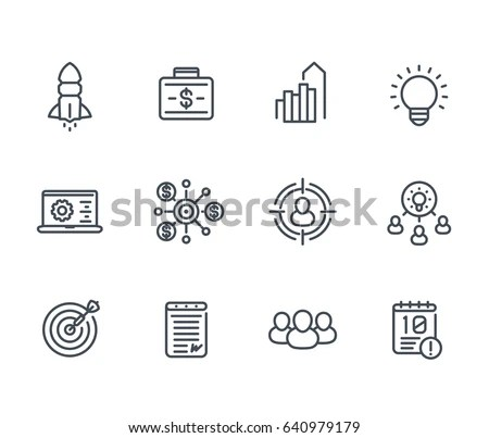 Startup Line Icons Product Launch Funding Stock Vector