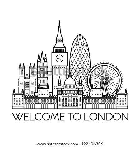 London Detailed Skyline Travel Tourism Background Stock