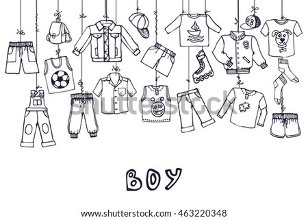 Boy Summer Fashion Hanging On Ropebabyteenage Stock Vector