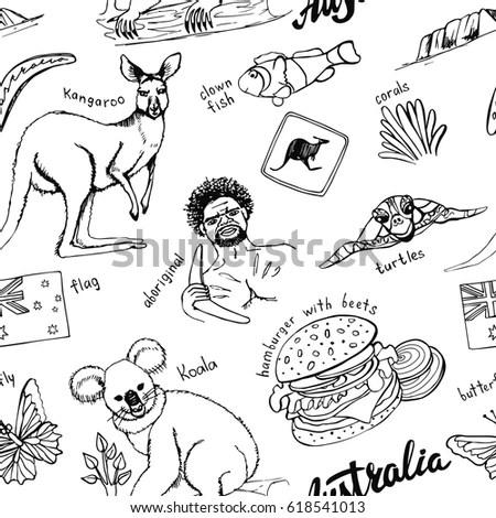 Australia Travel Doodles Seamless Patternhand Drawn Stock