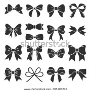 set graphical decorative bows vector