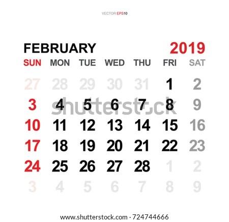 February 2019 Vector Monthly Calendar Template Stock