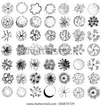 Set Treetop Symbols Architectural Landscape Design Stock ...