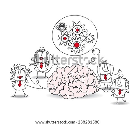 Business Team Brain Metaphor Collective Conscience Stock