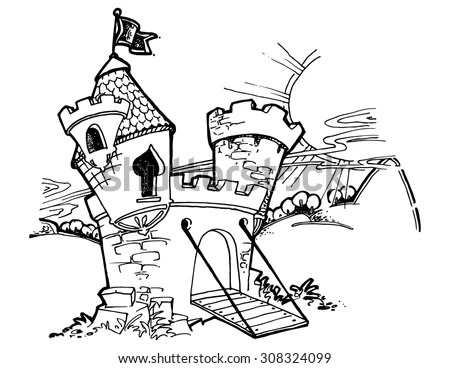 Illustration Kids Cartoon Castle Funny Simple Stock Vector