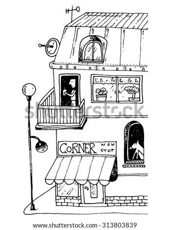 Simple Illustration Street Corner House Street Stock