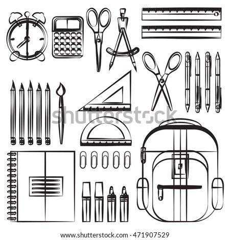 Drawing School Supplies Back School Education Stock Vector