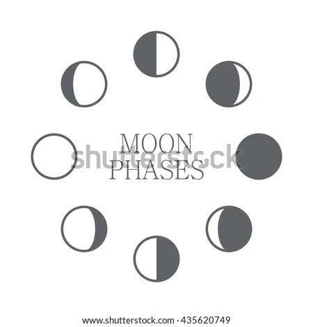 Moon Phases Icon Night Space Astronomy Stock Vector