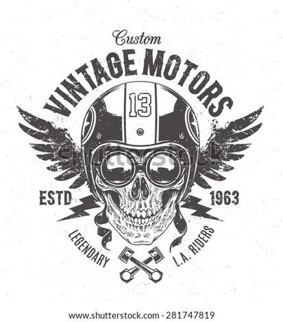 Rider Skull Retro Racer Attributes Grunge Stock Vector
