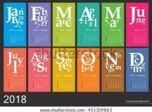 Creative Calendar 2018 Jazzy Concept Vector Stock Vector ...