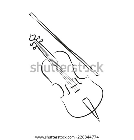 Black and white cartoon cello . Vector coloring sketch