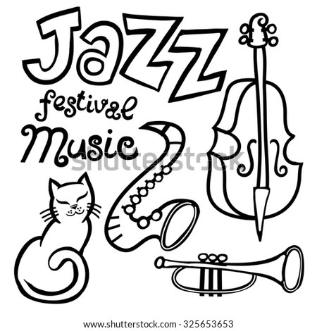 Cartoon Jazz Music Festival Element Set Stock Illustration