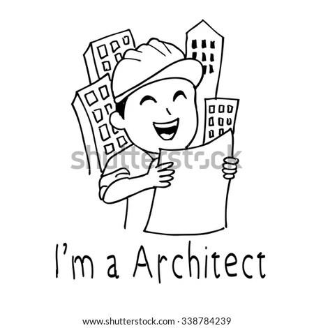 Cartoon Architect Hand Drawing Illustration Stock Vector
